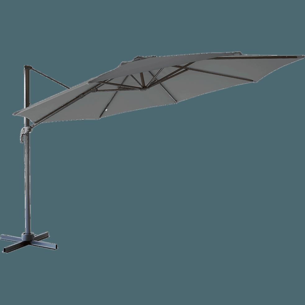 Parasol déporté rotatif 360° gris en polyester 2,99m-MINORI