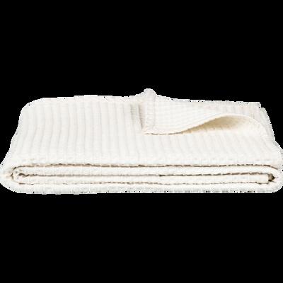 Plaid en coton gaufré blanc capelan 130x170cm-GOYA