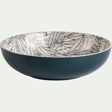 Assiette creuse en porcelaine motifs laurier - bleu figuerolles D21cm-AIX