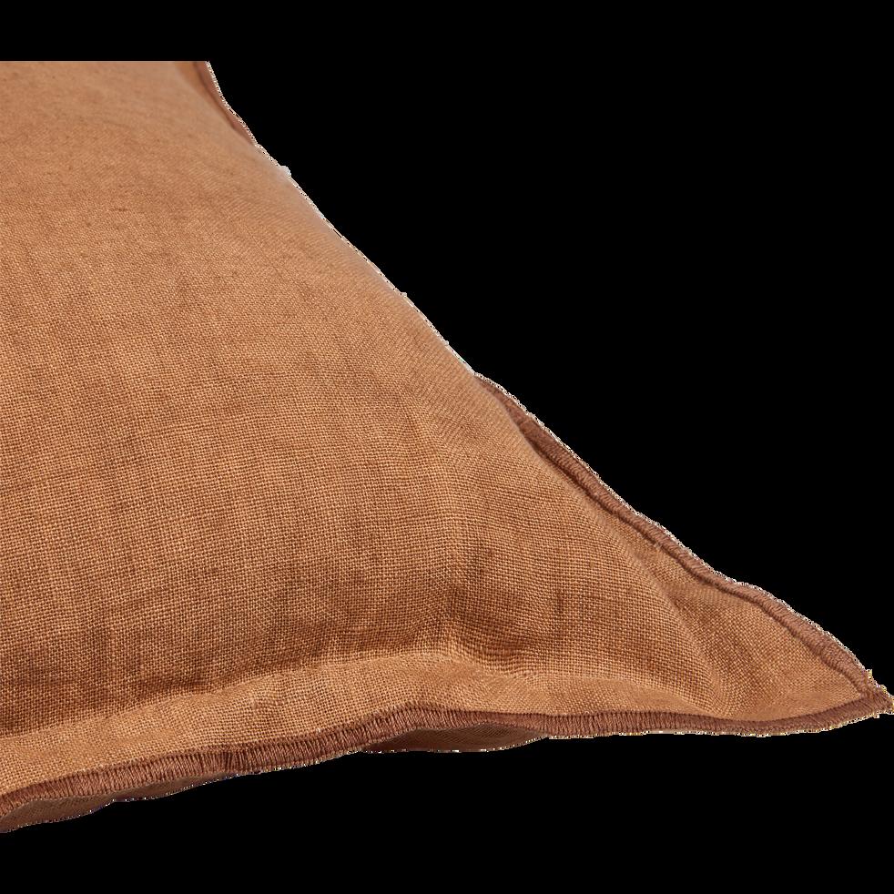 Coussin à volants en lin marron 45x45cm-VENCE