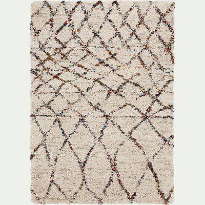 Tapis à motif d'inspiration berbère - blanc 160x230cm-BELIS
