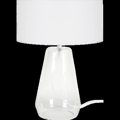 Lampe à poser en verre transparent et abat-jour coton blanc H48cm-REFLACTS V1