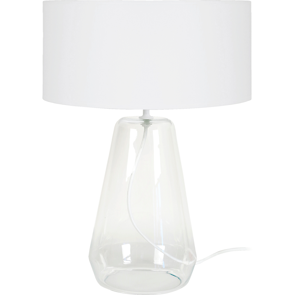 lampe poser en verre transparent et abat jour coton blanc h48cm reflacts v1 lampes alinea. Black Bedroom Furniture Sets. Home Design Ideas