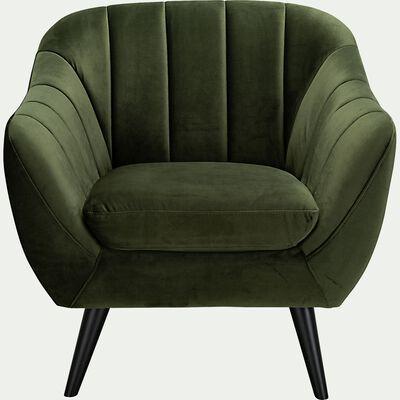 Fauteuil en velours - vert cèdre-SHELL