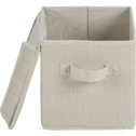 Boîte de rangement en lin beige 30x20x20cm-AGAPANTHE