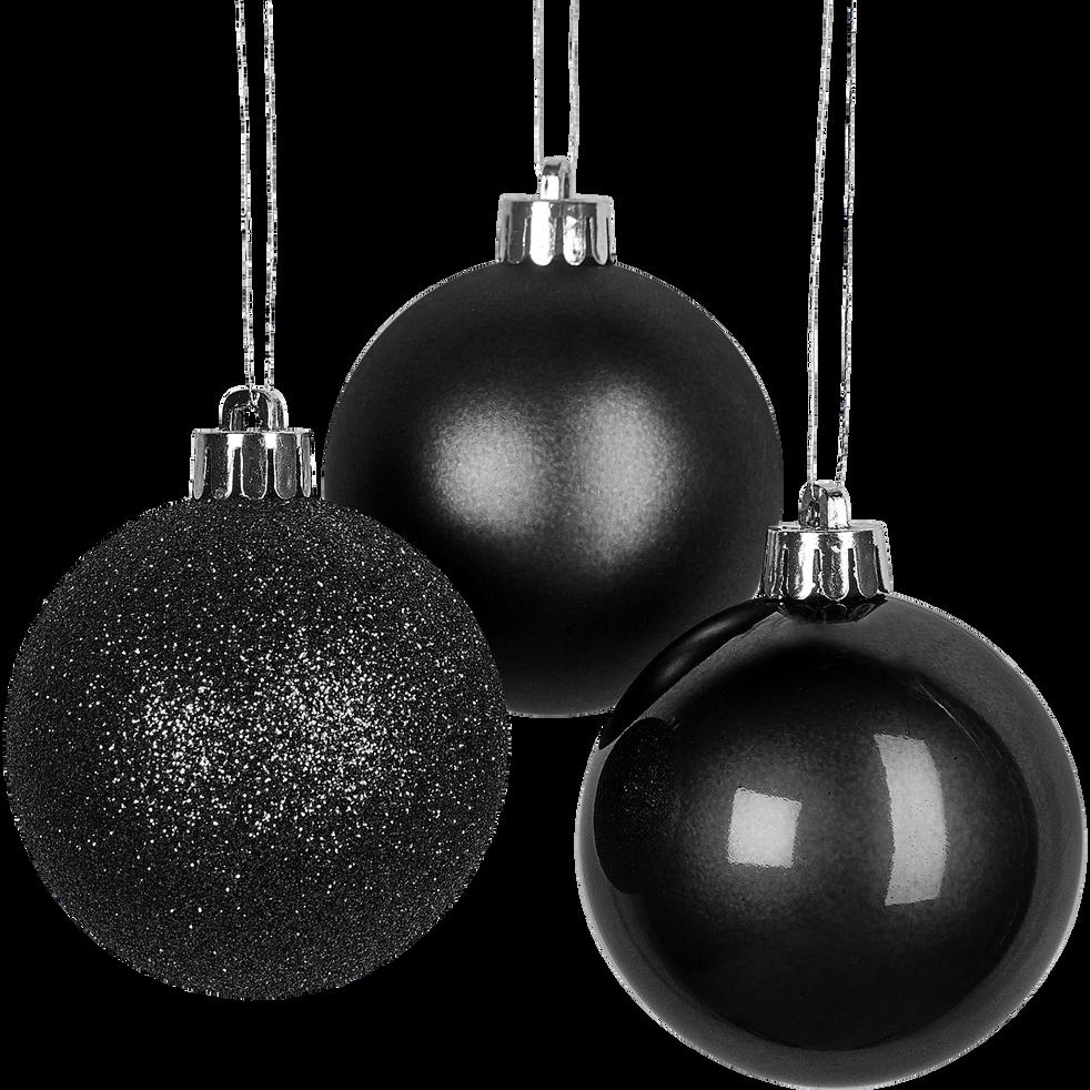 Lot de 10 boules en verre noires D6cm-BARAS