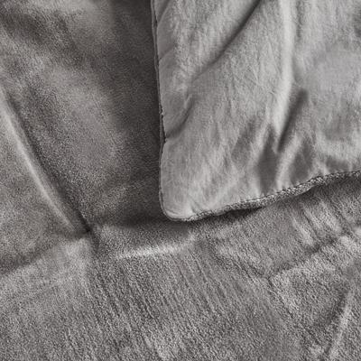 Édredon en velours gris restanque 100x180cm-EDEN