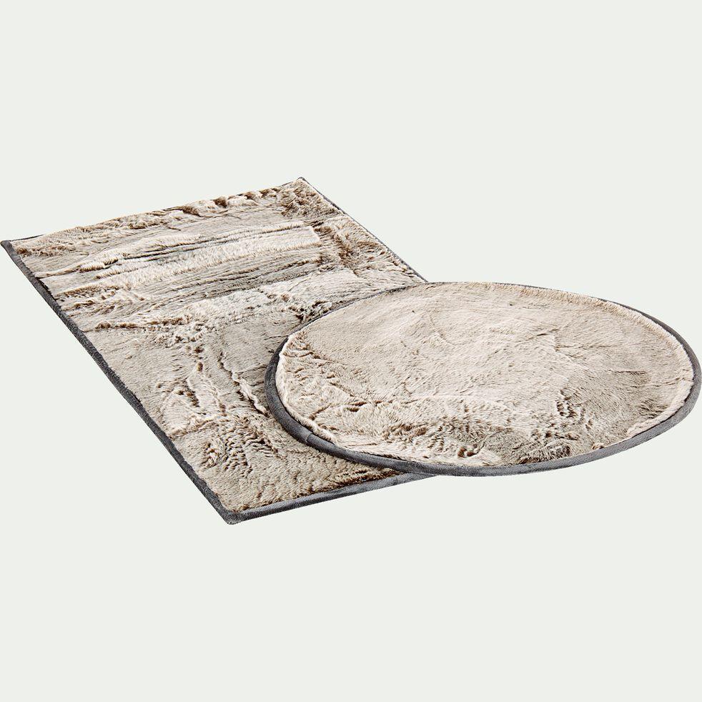 Tapis imitation fourrure - gris foncé D70cm-Dallas