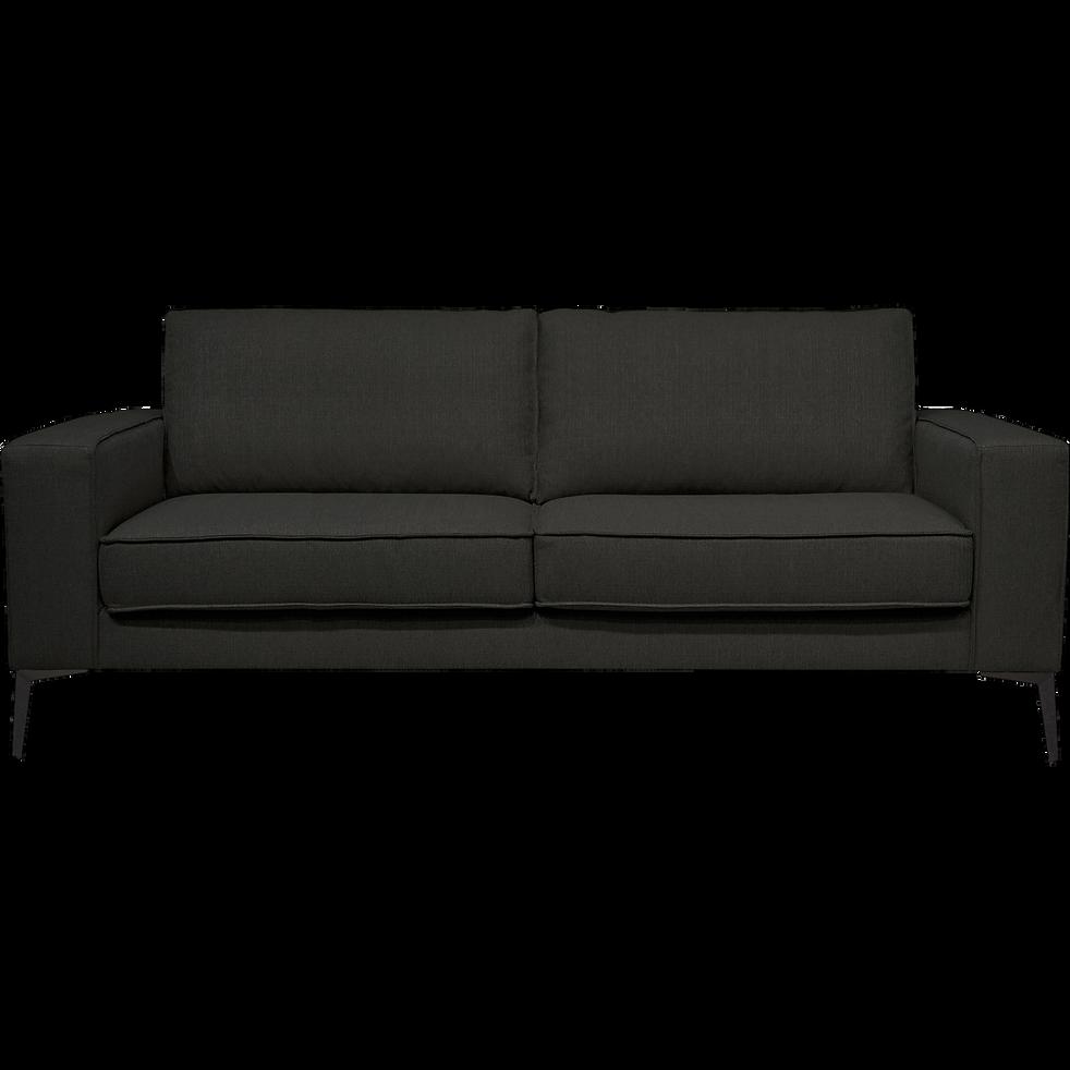 Canapé 3 places fixe en tissu noir et pieds hauts équerre noir mat-CALIFORNIA