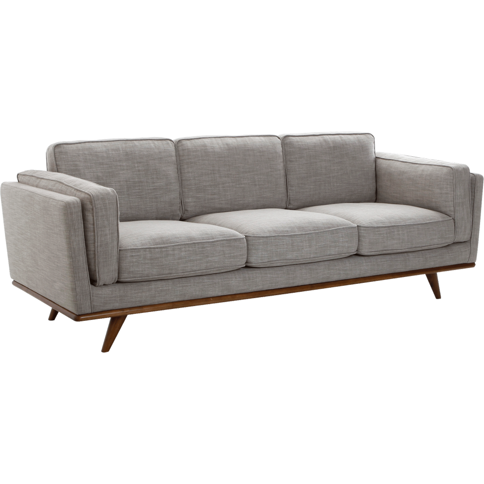canap 3 places fixe en tissu gris chin clair astoria. Black Bedroom Furniture Sets. Home Design Ideas