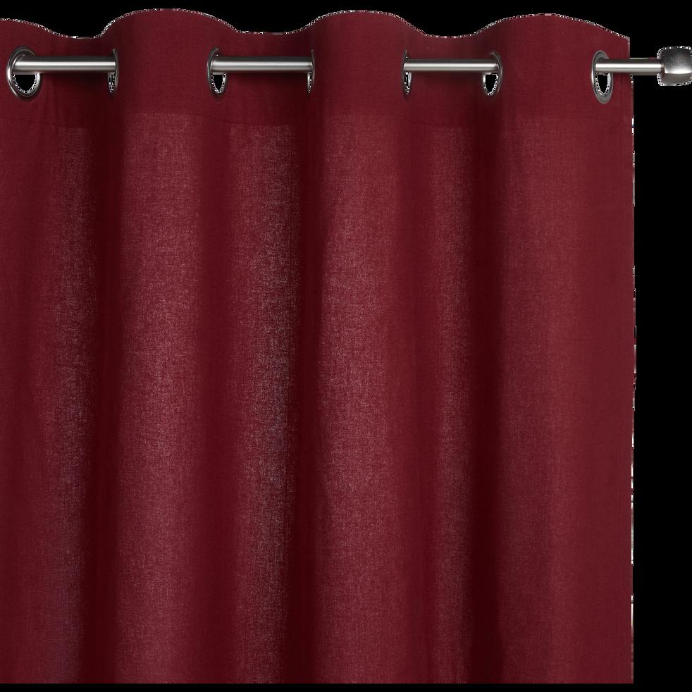 Rideau à oeillets en coton rouge sumac 140x250cm-CALANQUES