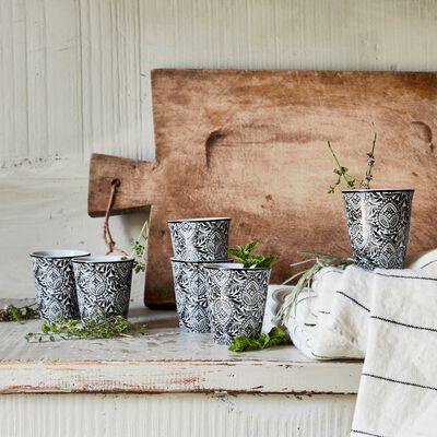 Lot de 6 tasses en porcelaine gris calabrun motif amande 9cl-CAMILLE
