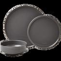 Assiette plate en faïence gris restanque D27cm-VADIM