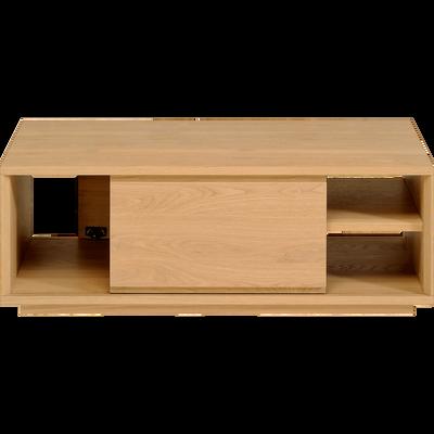 Table basse plaquée chêne 2 portes coulissantes-STOCKHOLM