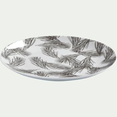 Assiette à dessert en porcelaine blanc capelan décorée D19cm-PIN D'ALEP