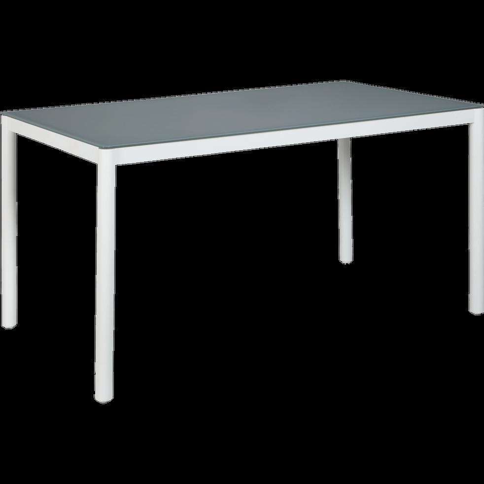 Table de jardin blanche en acier et en verre trempé (6 places)-MAGUY
