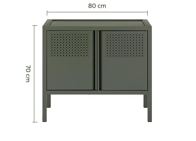 Buffet en métal ajouré vert cèdre-GOUTO