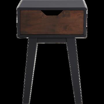 Table de chevet en hévéa massif 1 tiroir-TAKEO