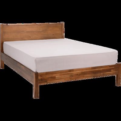 Lit 2 places avec tête de lit en acacia massif - Plusieurs tailles-THAO