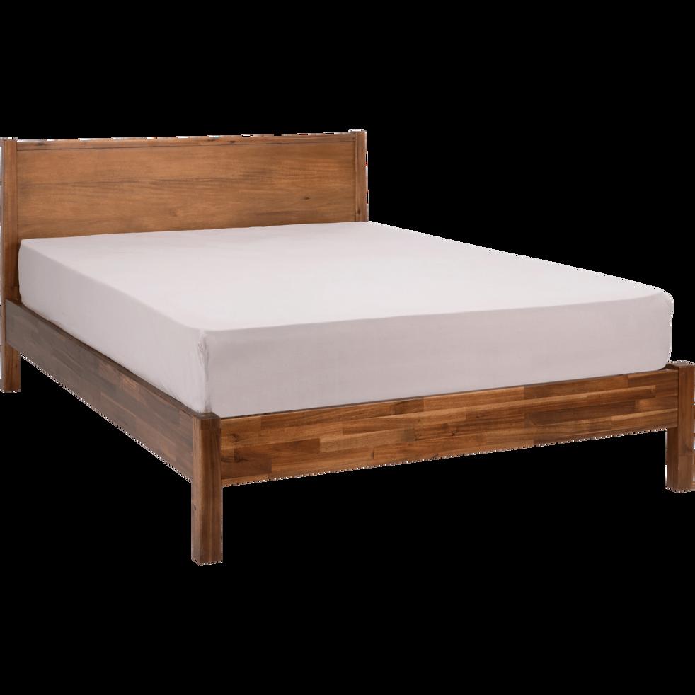 Lit 2 places avec tête de lit en acacia massif - 140x200 cm-THAO