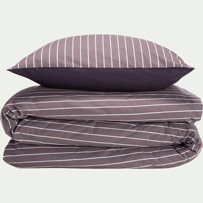 Housse de couette et 2 taies d'oreiller en coton rayé - gris 260x240cm-ALPHONSE