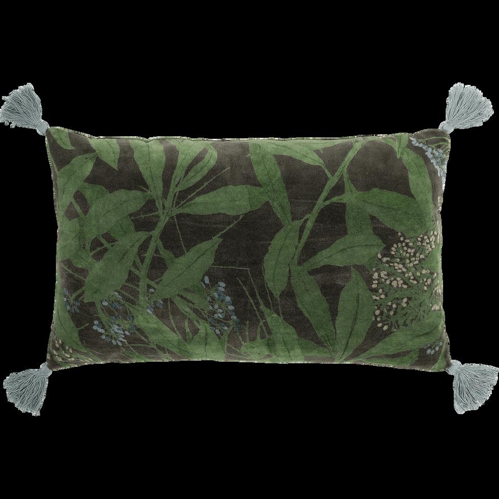 Coussin à pompons vert cèdre 30x50cm-OMBRAGE