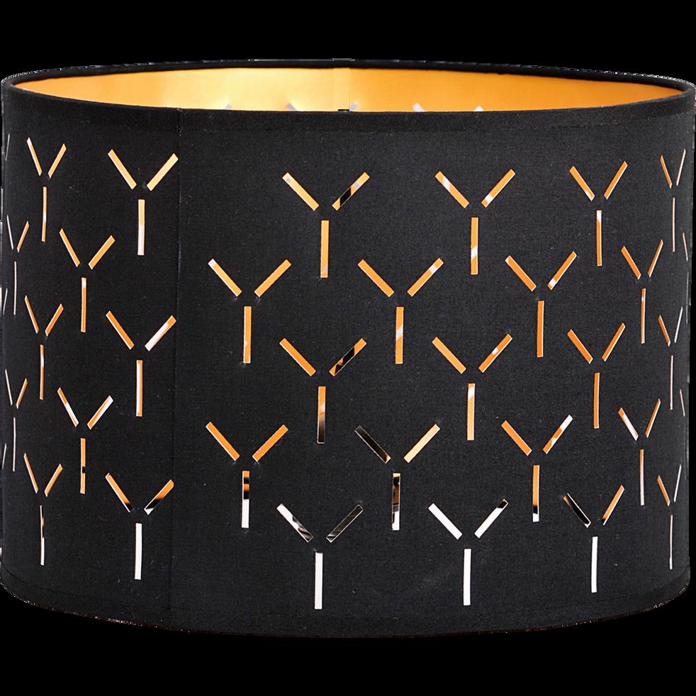 suspension non lectrifi e cylindrique en coton noir. Black Bedroom Furniture Sets. Home Design Ideas