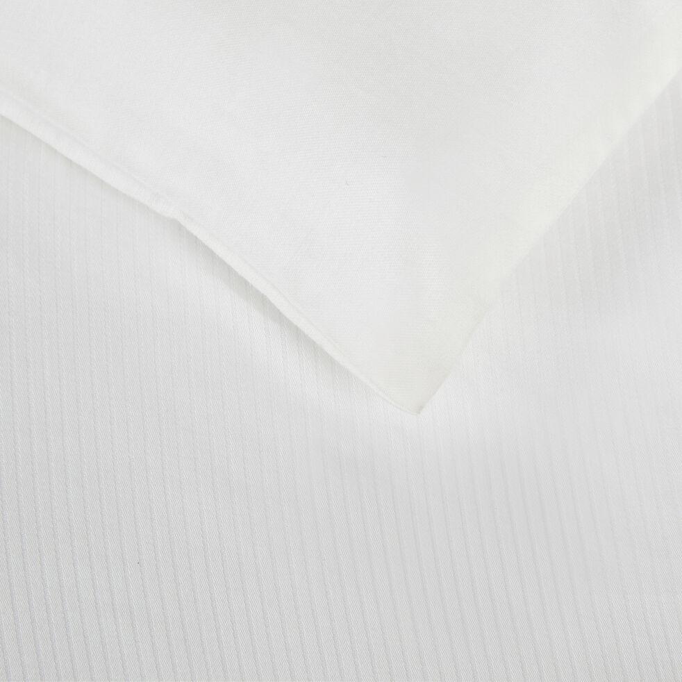 Drap plat rayé en satin de coton - blanc capelan 270x300cm-SANTIS