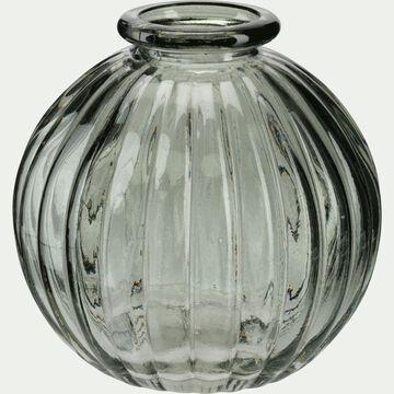 Vase rond strié en verre - gris restanque H8cm-Doko