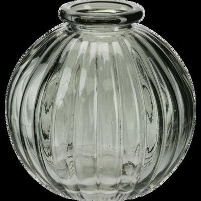Vase rond strié en verre gris restanque H8 cm-Doko