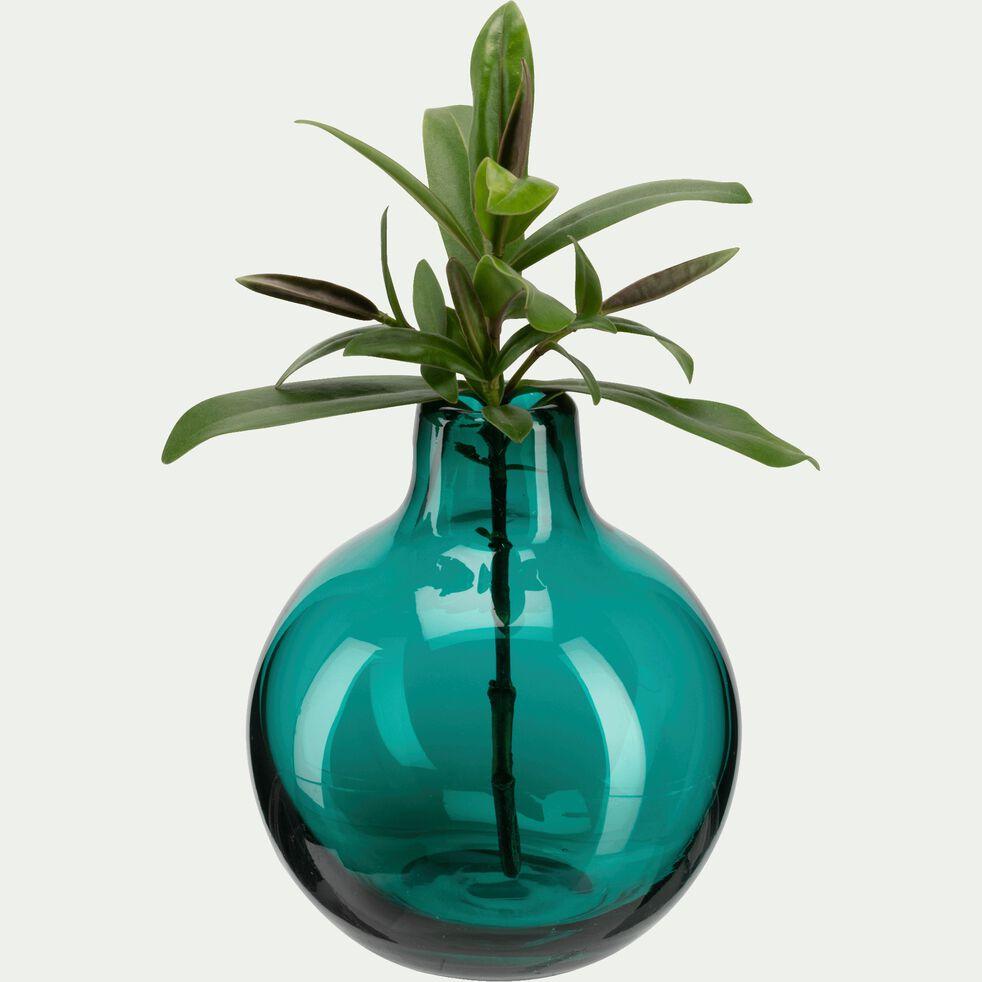 Vase en verre bleu rond H10cm-TAPHOS