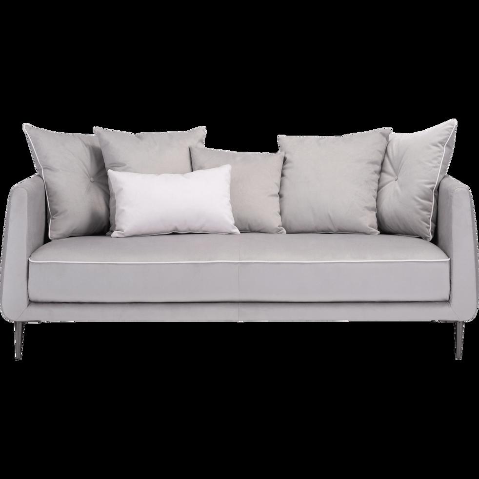 canap 3 places fixe en tissu gris borie astello. Black Bedroom Furniture Sets. Home Design Ideas