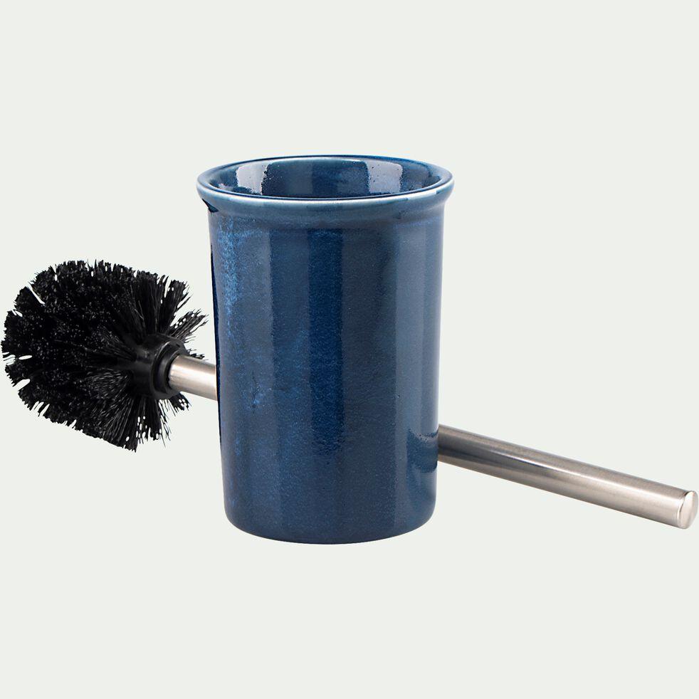 Brosse et porte-brosse wc en céramique - bleu figuerolles-DANA