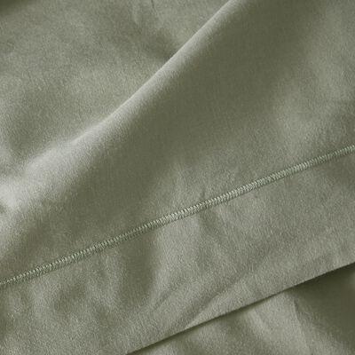 Housse de couette unie en coton vert olivier-CALANQUES