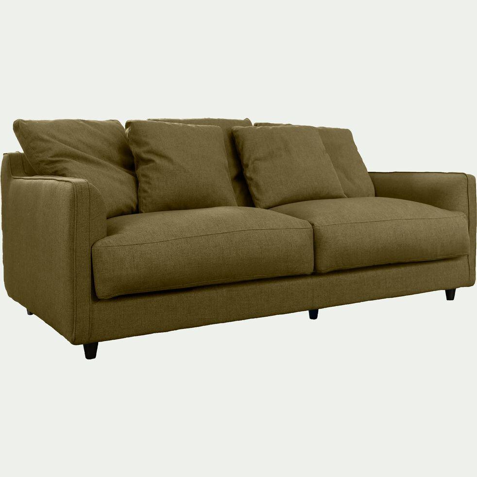 Canapé 3 places fixe en tissu vert cèdre-LENITA