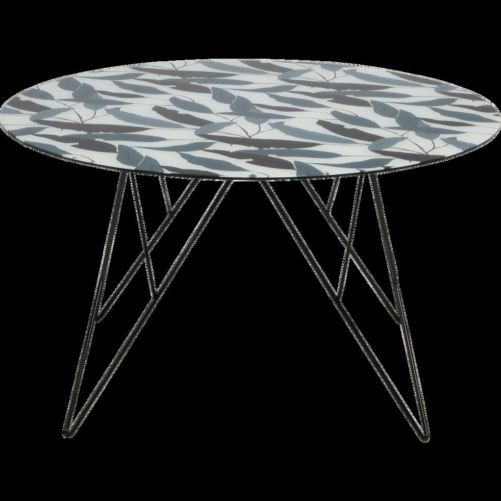 table basse ronde en verre imprim et pi tement acier ulin tables basses alinea. Black Bedroom Furniture Sets. Home Design Ideas