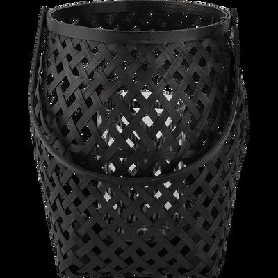 Lanterne bambou noir D22xH26cm-BOHOL