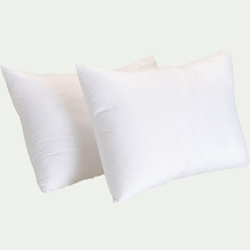 Lot de 2 oreillers moelleux en coton bio - blanc 45x70cm-KALEA