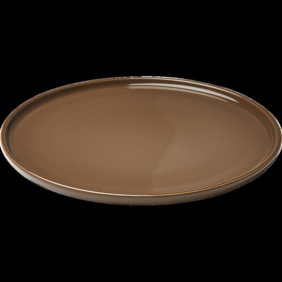 Assiette plate en faïence brun châtaignier D27cm-VADIM