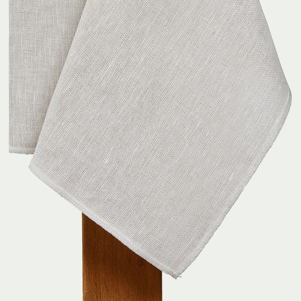 Nappe en lin et coton blanc réversible 145x145cm-ALICE