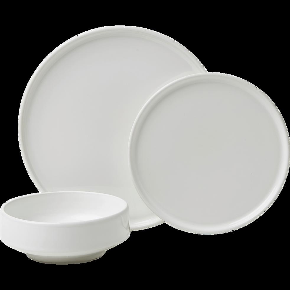 Assiette à dessert en faïence blanc ventoux D21cm-VADIM