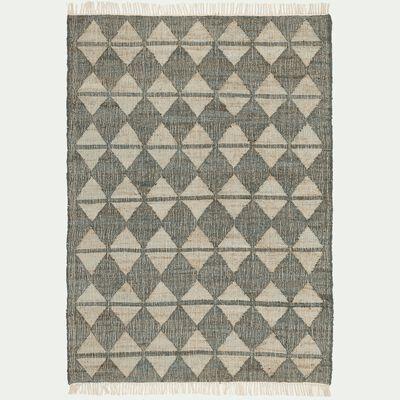 Tapis à motifs tissé en jute et coton - beige 160x230cm-KEOPS