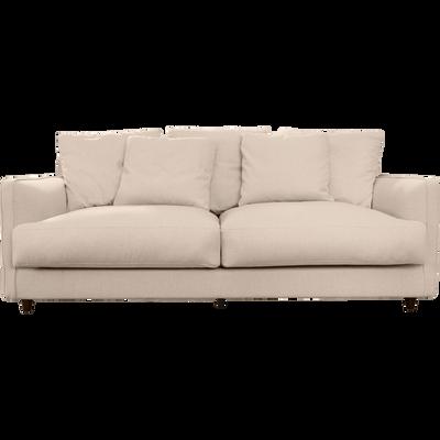 Canapé 3 places convertible en tissu beige roucas-LENITA