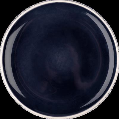 Assiette plate en faïence bleue D27cm-CAMELIA