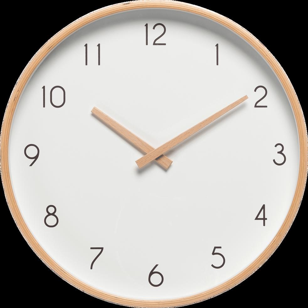 Horloge en bois blanche d32cm abelia d32 cm d co alinea for Grosse horloge blanche