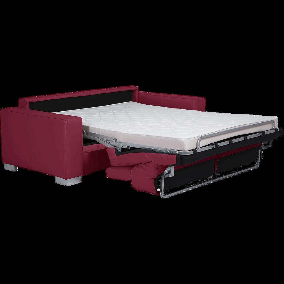 Canapé 3 places convertible en cuir de buffle rouge-Mauro
