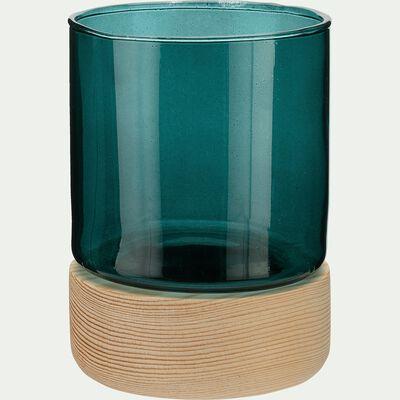 Photophore bois et verre bleu H8,5 cm-Skyro