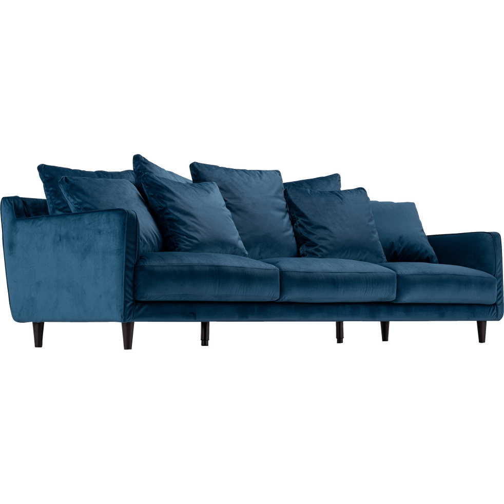 canap 5 places fixe velours bleu figuerolles lenita canap s en tissu alinea. Black Bedroom Furniture Sets. Home Design Ideas