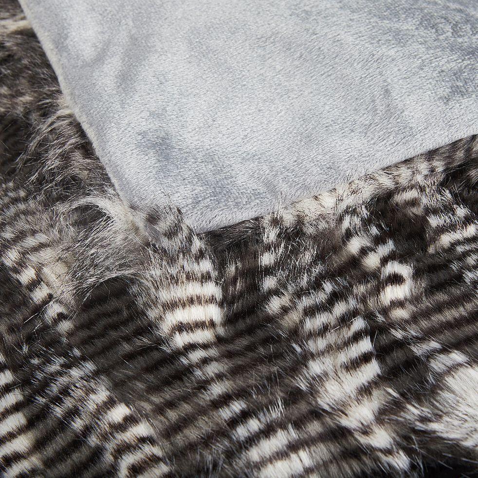 Plaid effet plume et fourrure en polyester et acrylique - gris 130x170cm-LINH