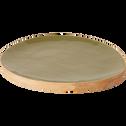 Assiette en manguier vert olivier 28x24cm-MANGUI